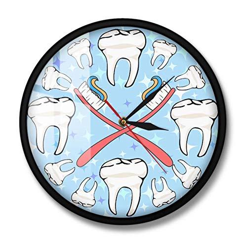 Reloj De Pared De Dientes De Dentista Silencioso Barrido Decoración De Arte De Salud Oral Para Oficina Dental Cepillo De Dientes De Dibujos Animados Reloj De Pared Sala De Estar-Marco De Metal