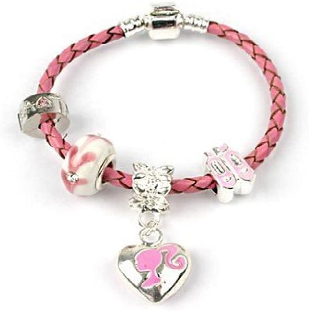 Liberty Charms Children's ' Miss Pink' Max 87% OFF Charm Bead Pink B Popular standard Leather