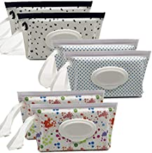 Portable Wet Wipe Pouch Reusable & Refillable Baby Wipes Dispenser, Eco Friendly and Lightweight Handy Travel Diaper Wipes Carrying Case Holder   Keeps Wet Wipes Moist (6 Pack)