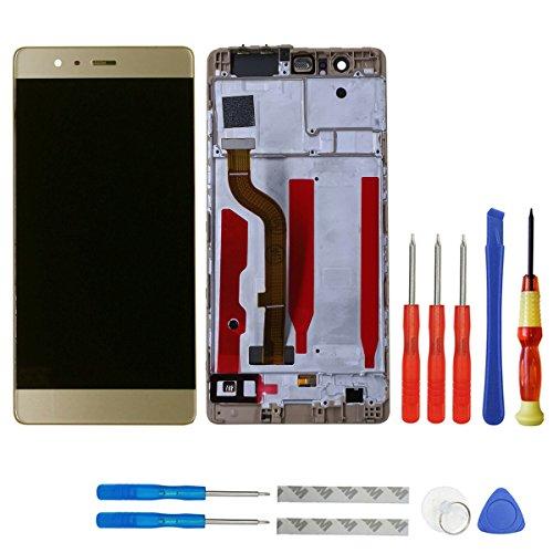 swark LCD Display Kompatibel mit Huawei P9 Standard EVA-L09 EVA-L19 EVA-L29 Touchscreen Bildschirm Digitizer Assembly Glas + Rahmen+Tools (Gold)