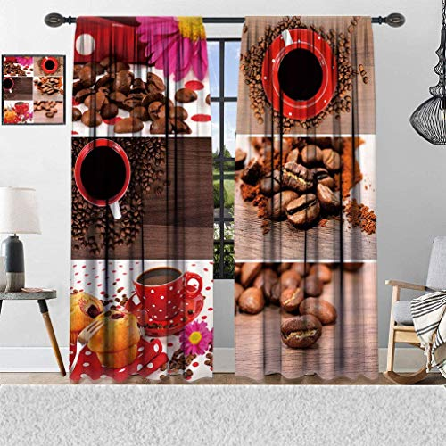 House Decor Curtains, Kitchen Coffee Themed Collage of Mugs Polka Dots Flowers Beans Muffins Photo, Thermal Insulated Curtains with Pattern, Window Curtains for Bedroom Living Room, 2 Panels