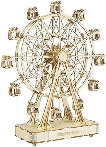 ACMEDE 3D Holzbausatz Erwachsene, DIY Riesenrad Spieluhr mit Musik Puzzle Holz Mechanische Modellbau Kits Denkspiele Spielzeug Geschenk Für Kinder und Erwachsene