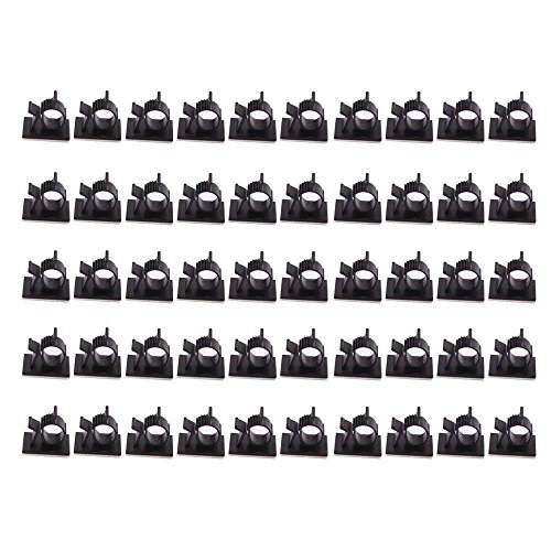 Teenitor SWEET-12 Cable Wire Clips, 3M Self-Adhesive Adjustable Car Organizer, Desk Wall, Computer, Electrical, Cord Tie Drop, Black, 50 Piece