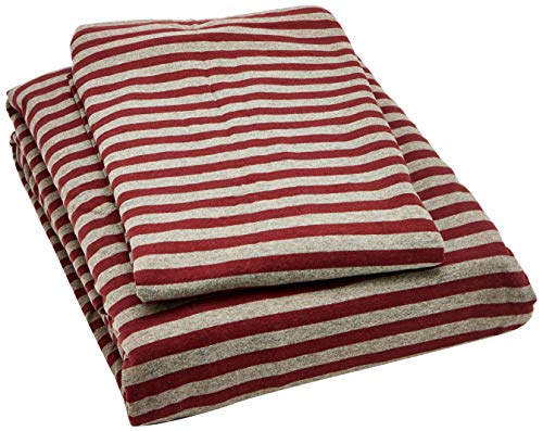 AmazonBasics Jersey Duvet Cover Set, Stripes - 230 x 220 cm / 50 x 80 cm, Dark Red