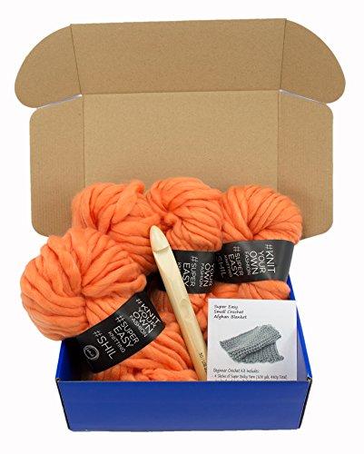 Super Soft Chunky Yarn Crochet Afghan Blanket Kit with Jumbo Hook US50/ 25MM (Mango Orange)