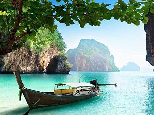 TTbaoz 1000 Pezzi di Puzzle di Carta Barca su Una Piccola Isola in ThailandiaGioco di Puzzle per Adulti e Adolescenti (38 * 26 cm)