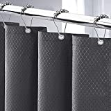 Cortina de Ducha 180x200cm Cortina de Baño Impermeable Tela Poliéster Lavable Antimoho con 12 Anillas de Metal Ducha Diseño de Dobladillo Ponderado (Gris Oscuro, 180*200CM)