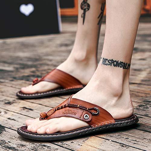 Chanclas y sandalias de piscina,Sandalias Comodo Verano Für Piscina/Playa/Ducha,Zapatillas de sandalias de verano,zapatillas de masaje casual antideslizantes,zapatos planos de punta abierta-marrón_42