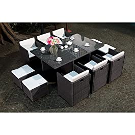 CONCEPT USINE – Salon De Jardin Miami 10 Personnes en Résine Tressée Gris Poly Rotin – 1 Table en Verre – 6 Fauteuils…