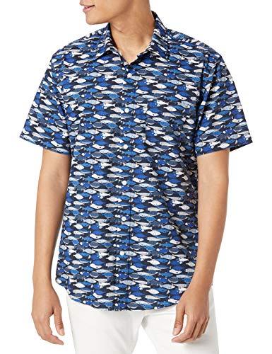 Amazon Essentials Kurzarm-Shirt mit regulärer Passform Hemd, Blauer Fisch, XXL