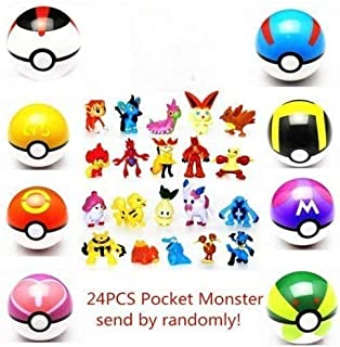 KANGM 7cm Poke Ball 8 Collectible Pokeball + 24PCS Mini Poke Action Figures mon pet Pocket Monster Action Figure Toy Pop-up Master Great Ultra GS Action Figures Toys