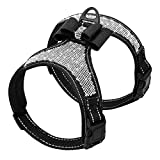 Beirui Rhinestone Dog Harness - No Pull Reflective Bling Nylon Dog Vest with Sparkly Bow Tie for Small Medium Large Dogs Walking Party Wedding,Black,S
