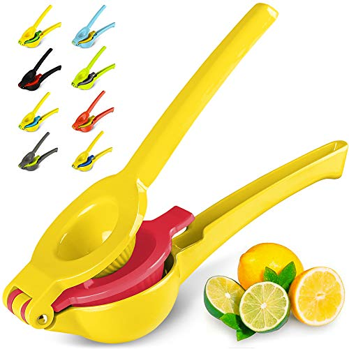Zulay Premium Quality Metal Lemon Lime Squeezer - Manual Citrus Press Juicer (Bright Yellow and Red)