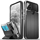 Vena vCommute Wallet Case Compatible with Google Pixel 5A 5G, (Military Grade Drop Protection) Flip Leather Cover Card Slot Holder with Kickstand - Space Gray