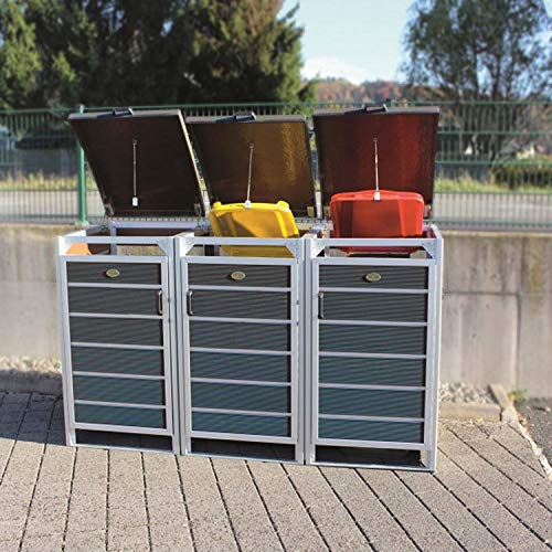 Prewood WPC Mülltonnenbox, Mülltonnenverkleidung für 3x 240l Mülltonne grau // 86x228x127 cm (LxBxH) // Gerätebox, Gartenbox & Mülltonneneinhausung - 2