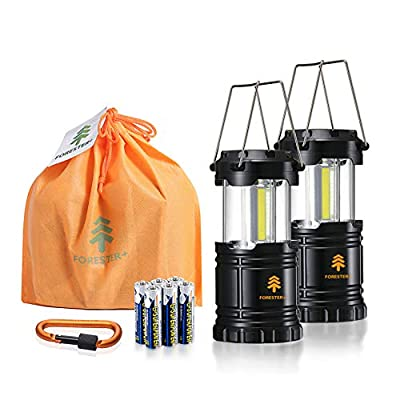 Forester+ Camping Lantern (2-Pack), Super Bright COB LED, Great for Camping, Hiking, Power Outage, Survival Kit, Emergency Light and Holiday Gift (6 x AA Batteries Included)