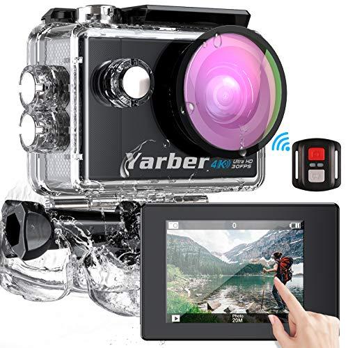 Yarber Cámara Deportiva 4K/30fps Wi-Fi, AR02 Cámara de Accion Pantalla Táctil Videocámaras 20MP Ultra HD EIS Anti-Vibración Cámara Acción Impermeable con Slow Motion, Control Remoto, 2X Baterías