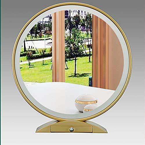 XM-MIRROR Espejo de Maquillaje LED Smart Touch Beauty, Rojo Neto con pequeño Espejo de tocador de sobremesa de Almacenamiento, Espejo cosmético de luz de Relleno Redondo Europeo,Oro,55cm