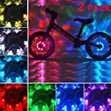 Jaswill Bike Wheel Lights LED Waterproof, Rechargeable Bicycle Spoke Hub Light for Cycling Kids Boys Girls and Adults Gift (2 Pack
