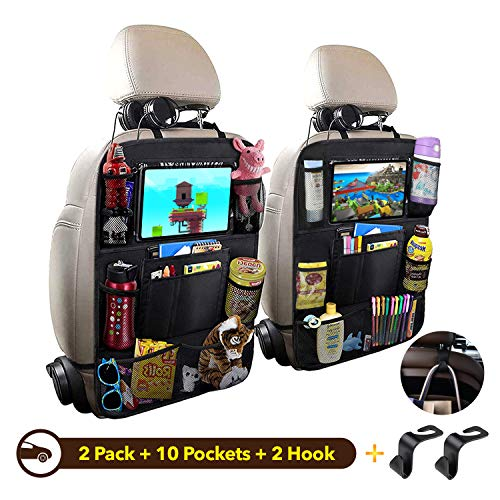"""Car Backseat Organizer, Car Seat Back Protectors Kick Mats with 10"""" Touch Screen Tablet Holder, 9 Storage Pockets with 2 Backseat Headrest Hooks for Kids Toy Bottle Drink Vehicles Travel Accessoriess"""