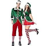 Costour Herren Damen Schickes Weihnachtskostüm Paar tragen Grüne Weihnachtself Set Party...