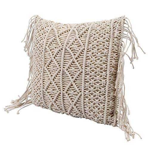 MLXG - Cojín de algodón y lino de macramé tejido a mano con hilo de algodón