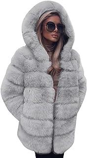 925b7cd9 FNKDOR Women Fashion Luxury Fluffy Shaggy Long Sleeve Faux Fur Hooded Coat  Jacket with Pockets Autumn