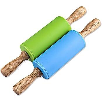 Blau, Gesamtl/änge 30cm ElecMotive Kinder Silikon Teigroller Antihaft Nudelholz Teigausroller Fondant Kuchen