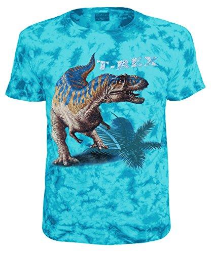 Kinder T-Shirt Dinosaurier T-Rex Tiermotiv Shirt Blau Batik Size 128