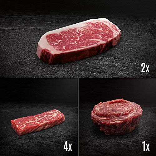 US Black Angus Steak Probierpaket - US Beef Tri Tip, US Beef Top Butt Flap Steakschnecke, Morgan...
