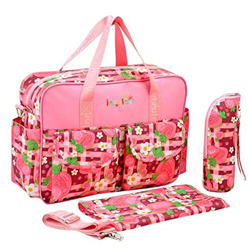 Etyybb Bolso Cambiador de Pañales, Bolsa de Pañales Impermeable con Bolsillos Aislados para Biberones para Viajes-Rosa_L