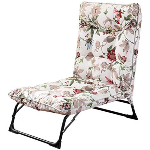 Cama Solar Silla de jardín reclinable Sillón reclinable Ajustable Tumbonas con cojín de algodón Acolchado Sillas Sling Plegable para balcón Sentado y acostado Doble Uso