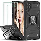 Galaxy Note 10 Plus 5G Case,with 3D Curved Screen Protector[2 Pack],YmhxcY Armor Grade with Rotating Holder Kickstand Non-Slip Hybrid Rugged Phone Case for Galaxy Note 10 Plus 5G 6.8 Inch-Black