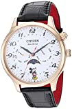 Citizen Men's Mickey Mouse & Friends Stainless Steel Quartz Leather Calfskin Strap, Black, 22 Casual Watch (Model: AP1053-15W)