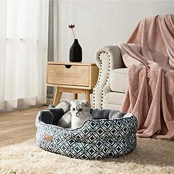 BEDSURE Panier Chat - Panier pour Chat Moelleux, Coussin Chat Doux Confortable,Lit pour Chats Intérieur pour Petit Chien, Gris,64x53x23cm