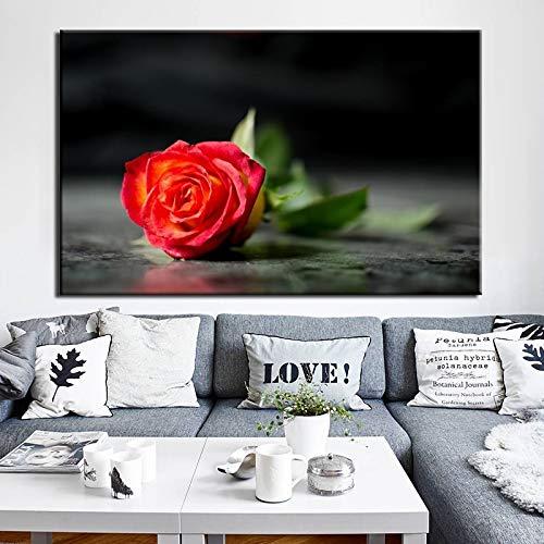 wojinbao Flores Modernas Carteles e Impresiones Arte de la Pared Lienzo ng Rosa roja Imágenes para la Sala de Estar Pared Decoración del hogar Regalo