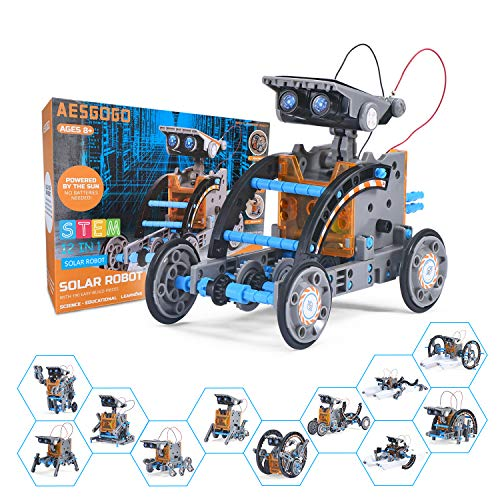 AESGOGO STEM Projects 12-in-1 Creation Solar Robot Kit,Science Experiments Toys Gifts for Kids Ages 8-12,Educational DIY Building Robotics Kit for 8 9 10 11 12 13 14 15 Year Old Boys Girls Teens