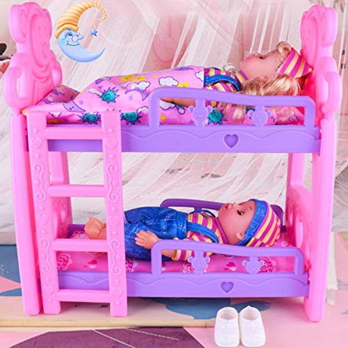 chora Dolls Bunk Bed, Doll Furniture,Pretend Play Set Toys - Pink