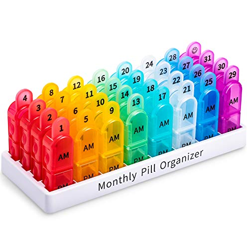 Pill Organizer Monthly 2 Times a Day  AM PM Large One Month Pills Case BPAFree 30 Day Pills Box Container Cases Morning and Night Pill Boxes with Unique Handle Design Hold Vitamin Medicine
