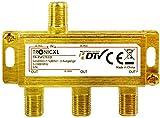 TronicXL - Distribuidor de antena 3 entradas 24K conector F dorado salida CC televisión por cable DVB-C BK DVB-T2 para Splitter Unicable distribuidor HD 3D 4K digital SAT blando