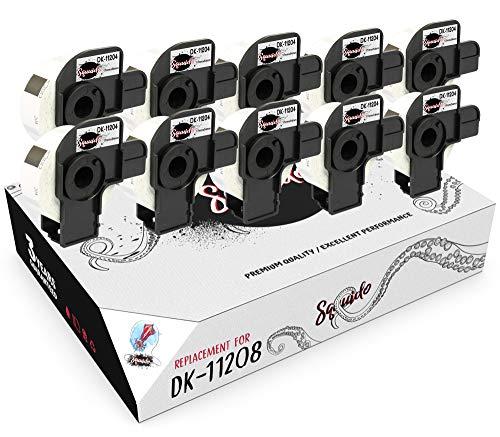 Squuido 10 rollos DK-11204 DK11204 Etiquetas compatibles para Brother P-Touch QL-500 QL-550 QL-560 QL-570 QL-580 QL-700 QL-800 QL-810W QL-820NWB QL-1100 1110NWB | 17mm x 54mm | 400 Etiquetas por Rollo