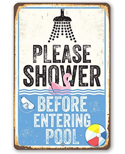 Lplpol Metallschild – Please Shower Before Entering Pool – langlebiges Metallschild – Verwendung drinnen und draußen – tolles Geschenk und Dekoration für Schwimmbad 20,3 x 30,5 cm