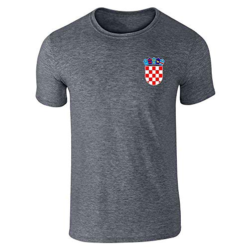 Croatia Soccer Retro National Team Sport Football Dark Heather Gray L Graphic Tee T-Shirt for Men