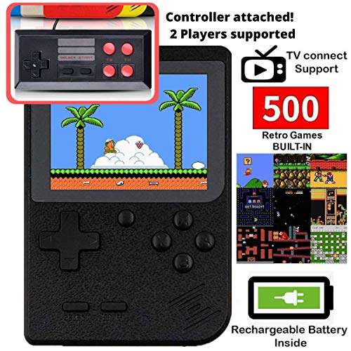 DigitCont Retro Game Console Mini Game Pocket Game Player with 500 Classic Game 1020mAh Rechargeable Battery 3 Inch IPS Screen Portable Video Game Console Best Childhood Memory Present for Kids
