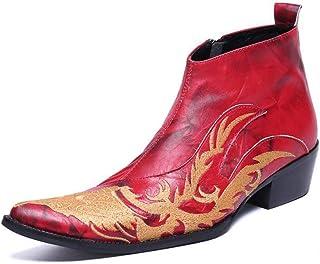 2019 Bottes Santiags en Cuir pour Homme, Bottes en Cuir Rouges Oxford Chaussures À Talons Hauts Chaussures Habillées De Mo...