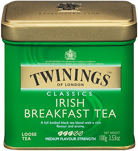 Twinings of London Irish Breakfast Loose Tea Tins, 3.53 Ounce (Pack of 6)