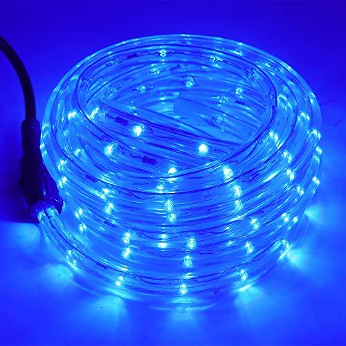 XUNATA 1/2' Rope Lights, 328ft 2-Wire Waterproof LED Rope Light Kit, 110V-120V PVC 30 LED/M Tube Lights Strip for Background Lighting, Outdoor Decorative Lighting, Christmas(Blue)