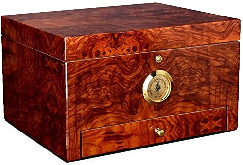 Humidors Caja de cigarros sellada Deshumidificador refrigerado Caja de cigarros portátil Caja Decorativa de Almacenamiento Doble con particiones (Color: Marrón, Tamaño: 28 * 16 * 22cm), YKHAO