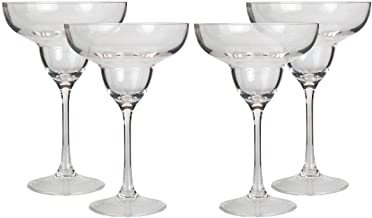 Lily's Home Unbreakable Acrylic Margarita Glasses, Made of Shatterproof Plastic and Ideal for Indoor and Outdoor Use, Reusable, Crystal Clear (10 oz. Each, Set of 4)
