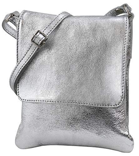 SH Leder ® Umhängetasche Schultertasche Crossover Italienische Handtasche aus Nappaleder 18x21cm Linda G299 (Silber)